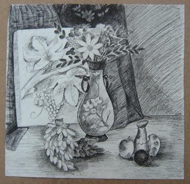 Гертер Настя - Натюрморт с цветами и фруктами